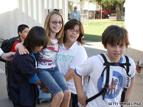 Elementary school students in Burbank, California, take part in last year's earthquake drill.