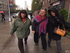 Cindy Hickey, from left, Nora Shourd and Laura Fattal go to New York City to visit the Iranian mission.