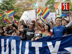 Thousands of gay-rights activists marched on Washington on Sunday.