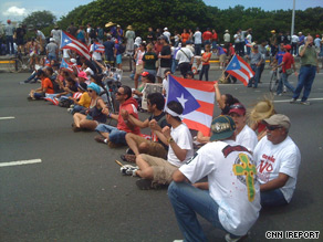 Thousands last week protest government layoffs in Puerto Rico.