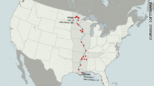 See map of Neal Moore's journey