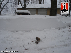 Snow piled up in Eau Claire, Michigan, earlier this week. Record lows were posted across the state.
