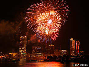 Fireworks light up the sky over Milwaukee, Wisconsin, during the city's 2008 Fourth of July festivities.