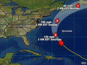 Hurricane Bill is expected to pass between Bermuda and the U.S. East Coast over the weekend.