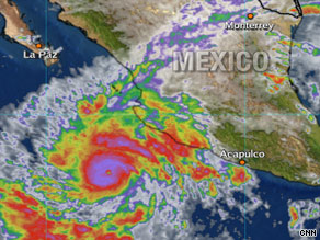 A satellite image shows Hurricane Jimena off the coast of Mexico early Sunday evening.