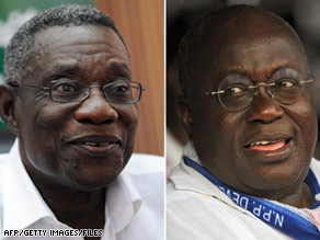 John Atta Mills, left, of the opposition NDC has defeated Nana Akufo-Addo, right, of the ruling NPP in the runoff.
