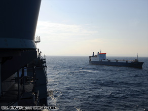 A U.S. Navy photo shows a ship held by pirates off the coast of Somalia in November.