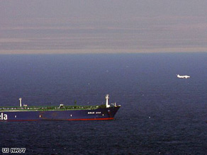 A U.S. Navy photo of the Sirius Star, a Saudi oil tanker seized by pirates in November, 2008.