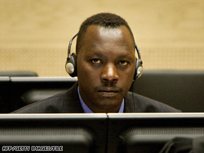 Thomas Lubanga Dyilo sits in the International Criminal Court at the Hague in 2006.