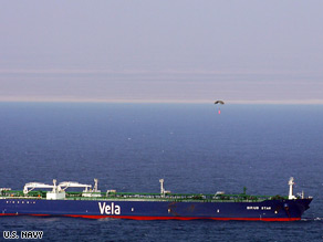The Liberian-flagged oil tanker Sirius Star at anchor off the Somalian coast in the Indian Ocean on November 19