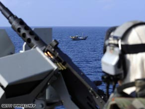 The French military on patrol in the Gulf of Aden.