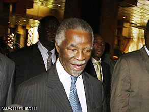 South African former president Thabo Mbeki is shown at talks Monday in Harare.