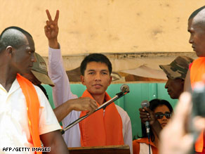 Antananarivo Mayor Andry Rajoelina takes part in a rally in the Malagasy capital city Saturday.