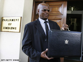 Patrick Chinamasa, Zimbabwe's acting finance minister, arrives last week at Parliament to present the '09 budget.