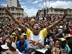 Protesters rally in Madagascar last month before violence broke out near the presidential palace.