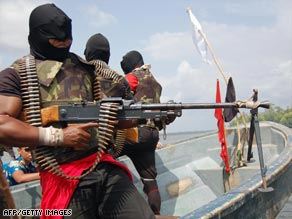 Heavily armed Nigerian rebels pose a constant threat to oil pipelines in the country.