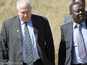Roy Bennett, left, pictured with Prime Minister and MDC leader Morgan Tzvangirai