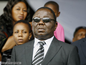 Morgan Tsvangirai attends his wife's public funeral at Glamis Stadium in Harare.
