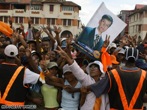Supporters of opposition leader Andry Rajoelina attend a rally in Antananarivo on Monday.