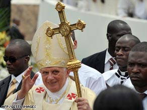 Tens of thousands of people gathered at a football stadium in Cameroon to see the pope.