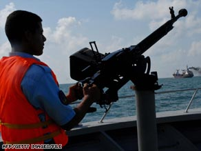The Yemeni coast guard patrols the Gulf of Aden in March.