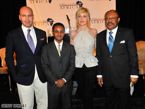 Actors Billy Zane and Sharon Stone, with Ted Alemayhu and Jean Stephane Biatcha, help announce the summit.