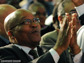 Zuma addresses supporters in Johannesburg on Thursday in anticipation of victory.