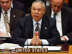 Colin Powell featured Ibn al-Shaykh al-Libi's claim in a presentation to the U.N. Security Council.