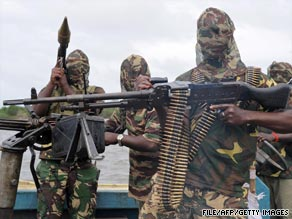 Militants from the Movement for the Emancipation of the Niger Delta, pictured September 2008 in the Niger Delta.