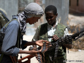 Young al-Shabaab militants with a heavy machine gun in Mogadishu on July 13.