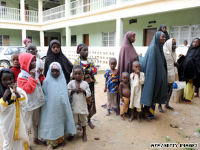 Mothers and their children take refuge this week at a police office in the northern Nigerian city of Maiduguri.