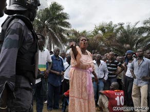 Police block supporters of opposition candidate Pierre Mamboundou in Libreville, Gabon.