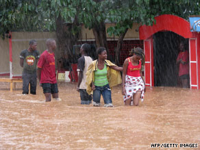 Floodwaters fill the streets in Ouagadougou, Burkina Faso, last week.