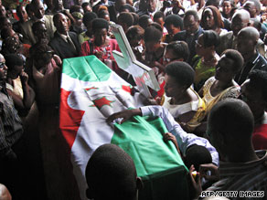 A casket of a peacekeeper killed in last week's attack in Somalia arrives Saturday in the victim's country, Burundi.