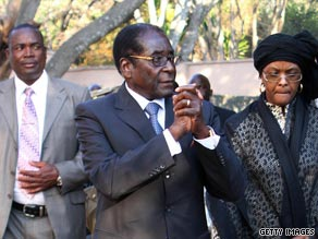Zimbabwean President Robert Mugabe meets a delegation from the EU earlier this month.