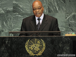 South African president Jacob Zuma addressing the U.N. General Assembly this week