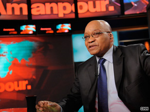 "Jacob Zuma on ""Amanpour"" set."