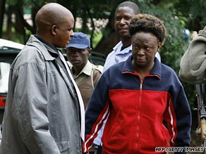 Human rights activist Jestina Mukoko arriving at a magistrate's court in Harare in December 2008.