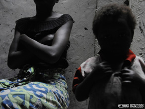 A Congolese rape victim, left, at the Heal Africa clinic in Goma on August 8, 2009.