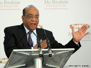 Businessman Mo Ibrahim talks about the prize at a news conference in London, England, on Monday.