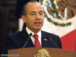 Mexican President Felipe Calderon announces his economic recovery proposals on Wednesday.