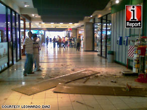iReporter Leonardo Diaz photographed the damage in Plaza Mayor Shopping Center in San Jose.