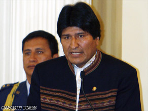 Bolivian President Evo Morales announces Wednesday that he is severing diplomatic ties with Israel.