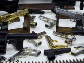 Cartridges and weapons seized from gangsters and drug-traffickers at the Military Headquarter in Mexico City.