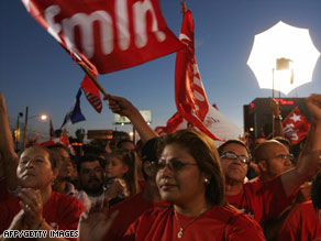 Supporters of the leftist group FMLN participate in a rally in San Salvador, El Salvador, Wednesday.
