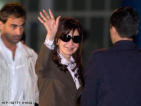 Argentina President Cristina Fernandez de Kirchner arrives Sunday in Havana, Cuba.