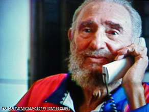 Fidel Castro is shown talking on the phone in Cuba in October 2006.