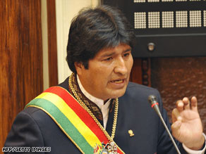 Bolivian leader Evo Morales speaks before parliament Thursday in the capital, La Paz.