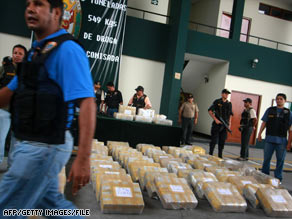Peruvian authorities show the press 1,500 kilograms of cocaine seized in March 2008.