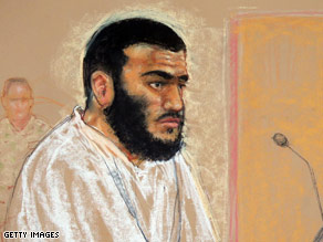 A courtroom sketch done in January of Omar Khadr during a hearing at Guantanamo Bay.